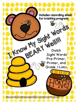 Dolch Sight Word Activity {Pre-Primer, Primer, and Grade 1 Lists} Bear/Bee