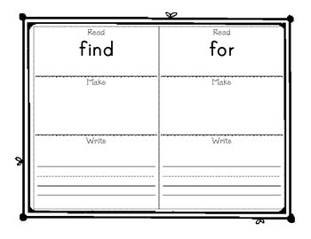Sight Word Activity Pre Primer through 3rd Grade