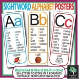 Sight Word Wall Alphabet - All 26 letters (Posters, phonics, & vocabulary)