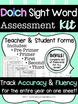 Dolch Sight Word Assessment Kit with Bonus Flashcards