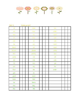 Dolch Sight Word Assessment Log