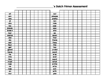 Dolch Sight Word Assessment - PP, Primer, 1st Grade