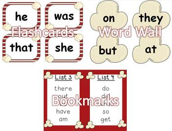 Dolch Sight Word Assessment Pack - Popcorn Theme BUNDLE - CCSS Aligned