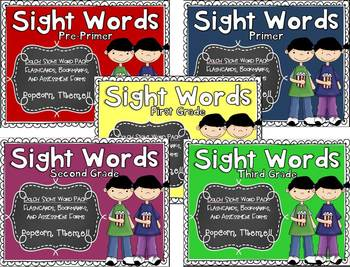 Dolch Sight Word Assessment Pack - Popcorn Theme BUNDLE -