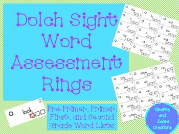 Dolch Sight Word Assessment Flash Cards