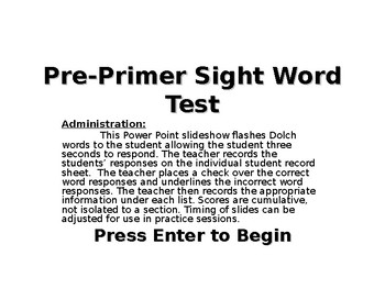 Dolch Sight Word Assessment Tool - PreK