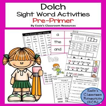Dolch Sight Word Activity - PrePrimer