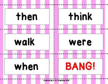 Dolch Sight Word BANG! Game First Grade