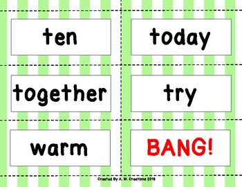 Dolch Sight Word BANG! Game Third Grade
