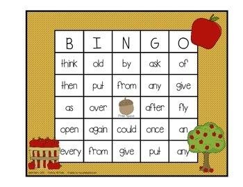 Dolch Sight Word BINGO - Grade 1 Fall Edition