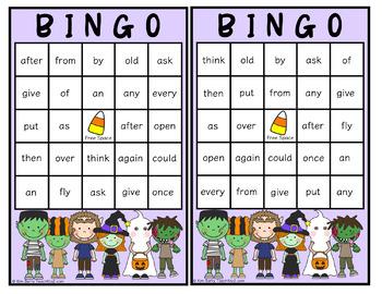 Dolch Sight Word BINGO - Grade 1 Halloween Edition