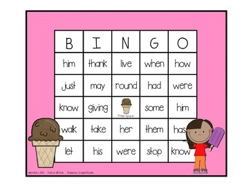 Dolch Sight Word BINGO - Grade 1 Ice Cream Kids Edition