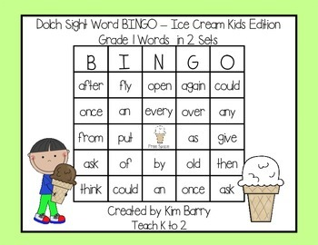Dolch Sight Word BINGO - Grade 1 Ice Cream Kids Edition