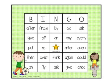 Dolch Sight Word BINGO - Grade 1 Kids at Play Edition