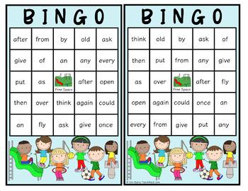 Dolch Sight Word BINGO - Grade 1 Kids at Play Edition