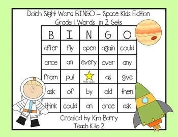 Dolch Sight Word BINGO - Grade 1 Space Kids Edition
