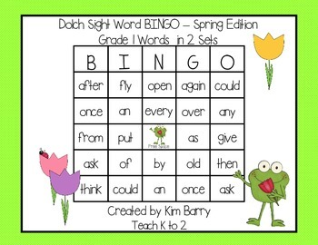 Dolch Sight Word BINGO - Grade 1 Spring Frog Edition