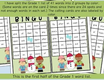 Dolch Sight Word BINGO - Grade 1 Winter Edition