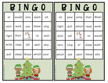 Dolch Sight Word BINGO - Grade 2 Christmas Edition