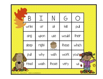 Dolch Sight Word BINGO - Grade 2 Fall Edition