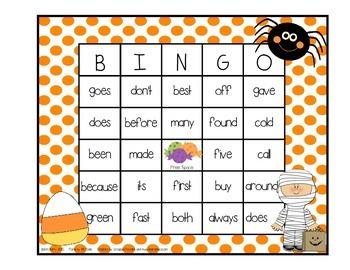 Dolch Sight Word BINGO - Grade 2 Halloween Edition