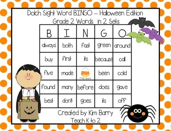 Dolch Sight Word BINGO - Grade 2 Halloween Edition
