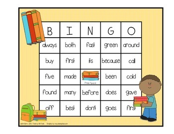 Dolch Sight Word BINGO - Grade 2 Kids at School Edition