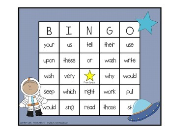 Dolch Sight Word BINGO - Grade 2 Space Kids Edition