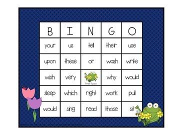 Dolch Sight Word BINGO - Grade 2 Spring Frog Edition