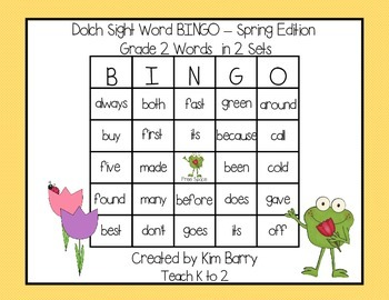 Dolch Sight Word BINGO - Grade 2 Spring Frog Edition