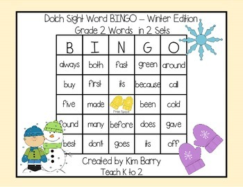 Dolch Sight Word BINGO - Grade 2 Winter Edition