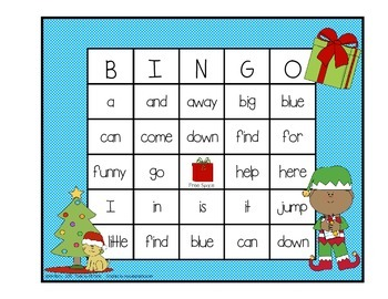 Dolch Sight Word BINGO - Pre Primer Christmas Edition
