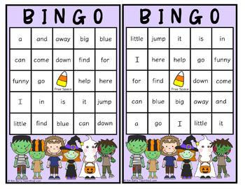 Dolch Sight Word BINGO - Pre Primer Halloween Edition