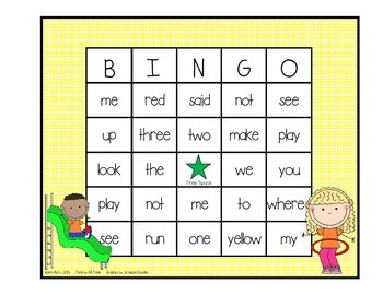 Dolch Sight Word BINGO - Pre Primer Kids at Play Edition