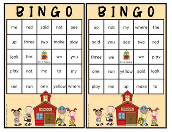 Dolch Sight Word BINGO - Pre Primer Kids at School Edition