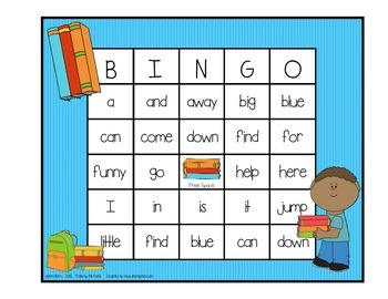 Dolch Sight Word BINGO - Pre Primer Kids at School Edition