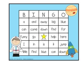 Dolch Sight Word BINGO - Pre Primer Space Kids Edition