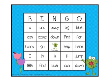Dolch Sight Word BINGO - Pre Primer Spring Frog Edition