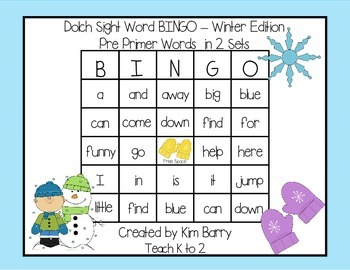 Dolch Sight Word BINGO - Pre Primer Winter Edition