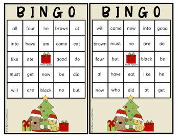 Dolch Sight Word BINGO - Primer Christmas Edition