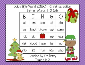 Dolch Sight Word BINGO - Primer Christmas Edition