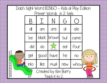 Dolch Sight Word BINGO - Primer Kids at Play Edition