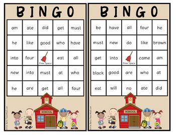 Dolch Sight Word BINGO - Primer Kids at School Edition