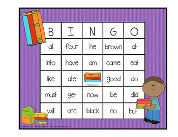 Dolch Sight Word BINGO - Primer Kids at School Edition