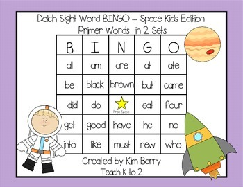 Dolch Sight Word BINGO - Primer Space Kids Edition