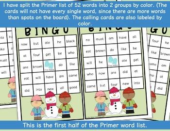 Dolch Sight Word BINGO - Primer Winter Edition