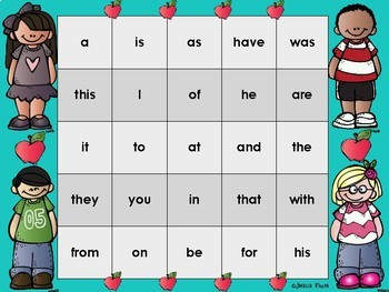 Sight Word Bingo for Words 1-25