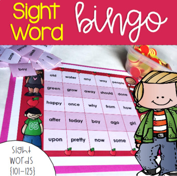 Sight Word Bingo for Words 101-125