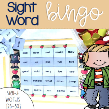 Sight Word Bingo for Words 26-50