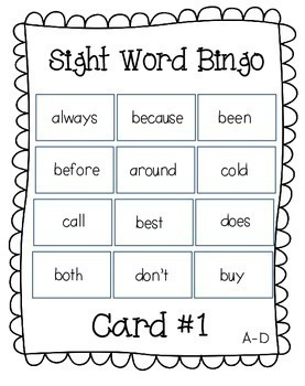 Dolch Sight Word Bingo (2nd Grade)
